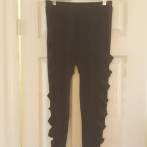 Pants - Black Leggings with side openings 3x